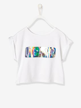 Girls-Tops-Girls' Printed T-shirt with Glossy Effect