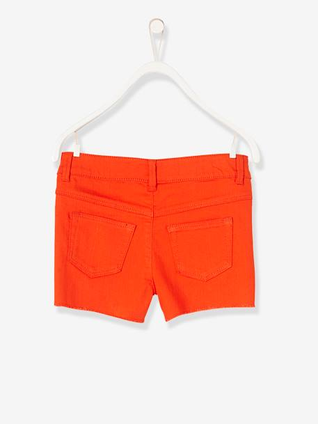 Girls' Embroidered Shorts GREEN MEDIUM SOLID WITH DESIG+ORANGE BRIGHT SOLID+PINK MEDIUM SOLID WITH DESIG+WHITE LIGHT SOLID WITH DESIGN - vertbaudet enfant