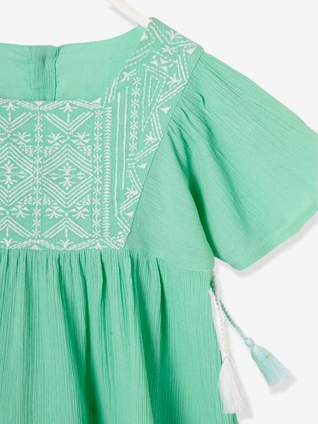 Girls' Crepon Blouse GREEN LIGHT SOLID WITH DESIGN+PINK BRIGHT SOLID WITH DESIG - vertbaudet enfant