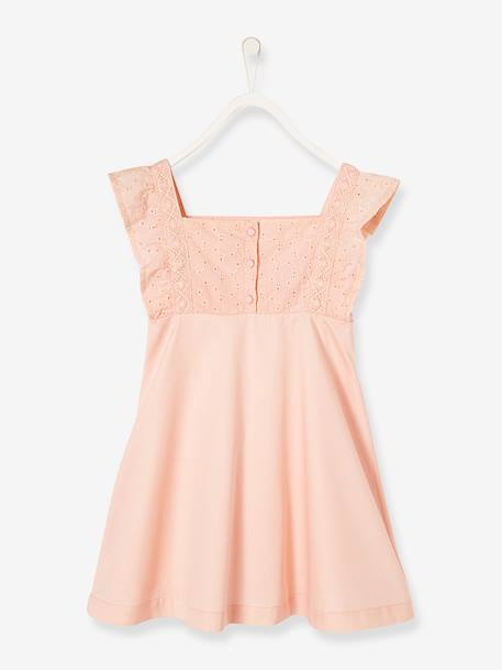 Girls' Sateen Dress with Embroidery PINK LIGHT SOLID+WHITE LIGHT SOLID - vertbaudet enfant