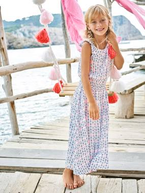Outlet-Girls-Dresses-Girls' Long Printed Dress