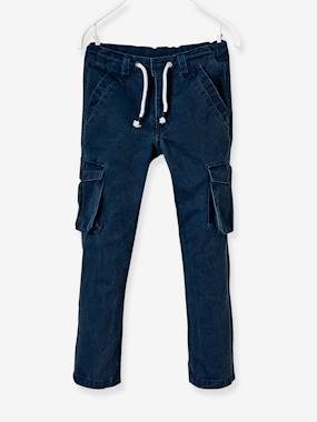 navy shark boy-Boys' Straight Cut Battle Dress Trousers