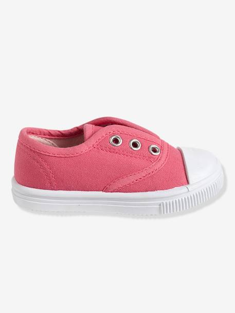 Girls' Fabric Trainers PINK MEDIUM SOLID+WHITE LIGHT ALL OVER PRINTED+YELLOW MEDIUM SOLID - vertbaudet enfant