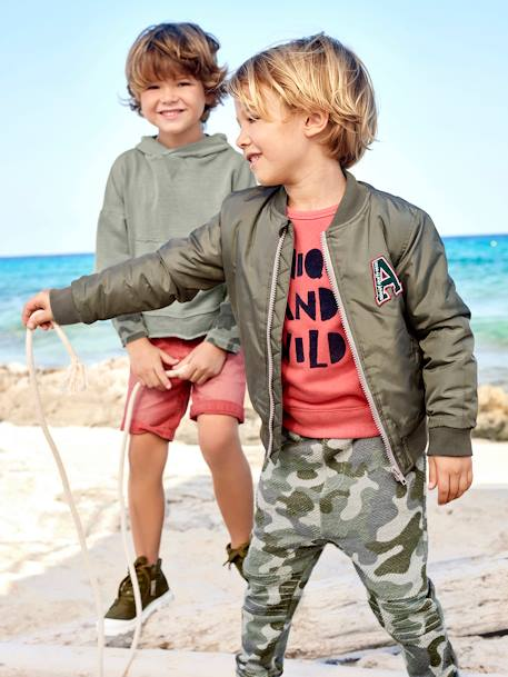 Boys' Printed Sweatshirt BLUE MEDIUM ALL OVER PRINTED+ORANGE BRIGHT SOLID WITH DESIG - vertbaudet enfant