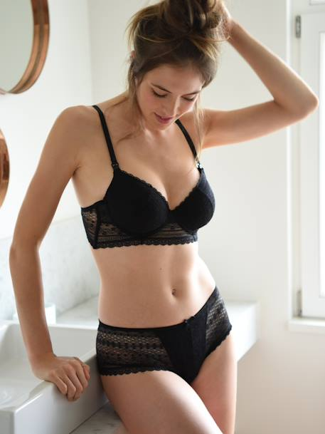 Lace Maternity Bra Black+RED BRIGHT SOLID+White - vertbaudet enfant