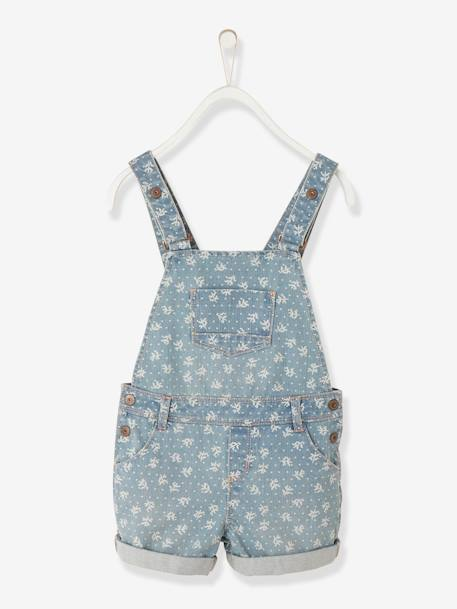 Girls Short Denim Dungarees Bleached denim - vertbaudet enfant