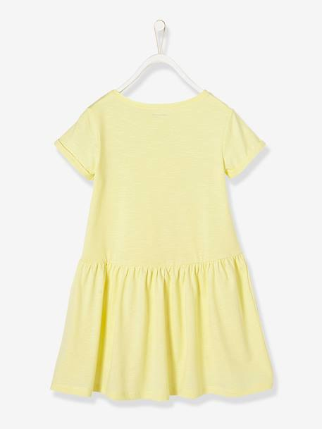 Girls' Short-Sleeved Dress PINK DARK ALL OVER PRINTED+WHITE LIGHT STRIPED+YELLOW LIGHT SOLID WITH DESIGN - vertbaudet enfant
