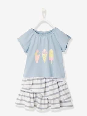 Vertbaudet Sale-Girls-Girls' Skirt + T-Shirt Outfit