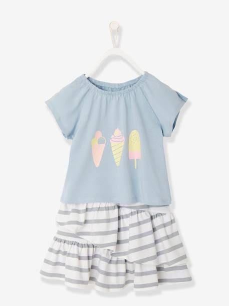 Girls' Skirt + T-Shirt Outfit BLUE MEDIUM STRIPED+PINK LIGHT ALL OVER PRINTED - vertbaudet enfant