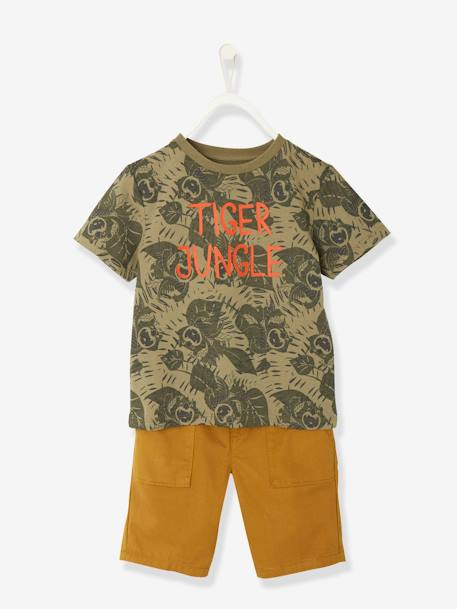 Boys' T-shirt + Bermuda Shorts Outfit GREEN DARK ALL OVER PRINTED - vertbaudet enfant