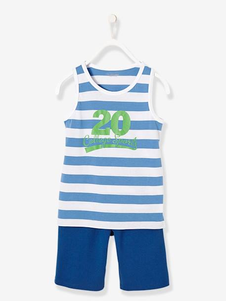 Boys' Dual Fabric Pyjamas with Shorts BLUE MEDIUM STRIPED - vertbaudet enfant