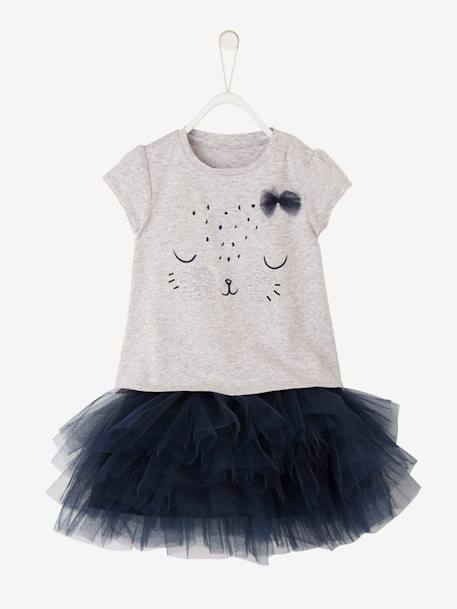 Baby Girls' T-Shirt and Skirt Outfit GREY LIGHT MIXED COLOR+WHITE LIGHT SOLID WITH DESIGN - vertbaudet enfant