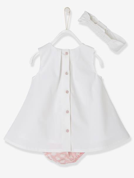 Baby Girls' 3-Piece Outfit: Dress & Shorts & Headband, Bunny Rabbit Motif WHITE LIGHT SOLID - vertbaudet enfant