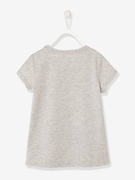 Girls' Sports T-Shirt with Sequins GREY LIGHT SOLID WITH DESIGN+PINK LIGHT SOLID WITH DESIGN - vertbaudet enfant