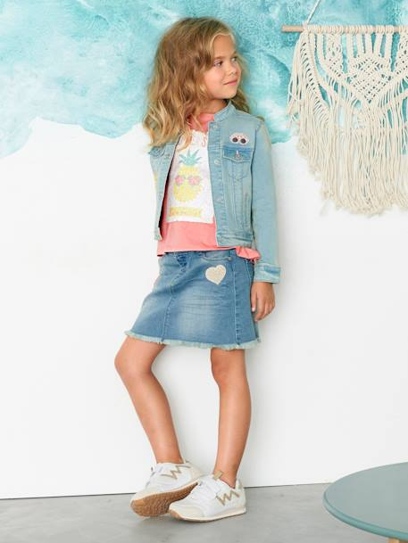 Girls' Denim Jacket with Patches BLUE LIGHT WASCHED - vertbaudet enfant