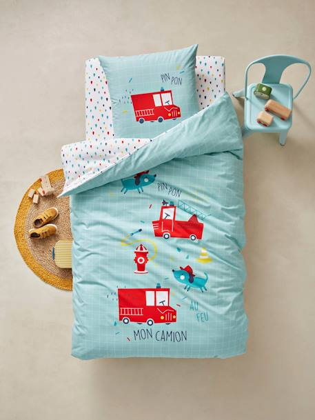 Children's Duvet Cover & Pillowcase Set, Nee-Naw Theme GREEN LIGHT SOLID WITH DESIGN - vertbaudet enfant