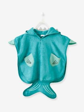 Bedding-Bathing-Babies' Beach Poncho, with Hood, Shark Motif