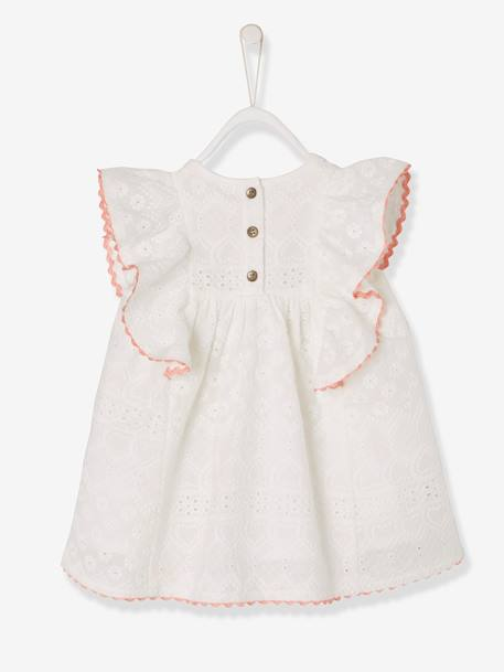 Baby Girls' Dress with Broderie Anglaise and Frill WHITE LIGHT SOLID - vertbaudet enfant