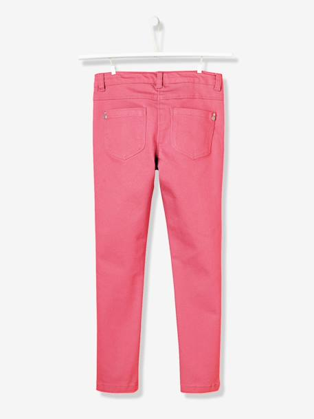 Girls Slim Cut Indestructible Trousers GREEN MEDIUM SOLID+GREY DARK SOLID+Pink+Sky blue+YELLOW MEDIUM SOLID - vertbaudet enfant