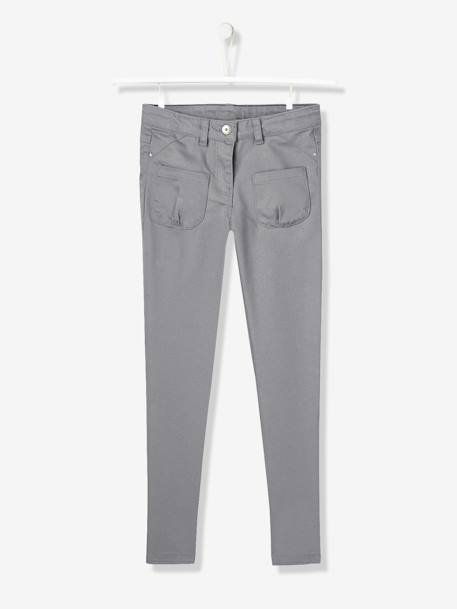 Girls Slim Cut Indestructible Trousers BLUE DARK SOLID+GREEN MEDIUM SOLID+GREY DARK SOLID+Pink+Sky blue+YELLOW MEDIUM SOLID - vertbaudet enfant