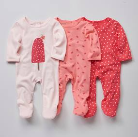 Basics and Multipacks-Babies' Pack of 3 Cotton Pyjamas, Press-studs on the Back