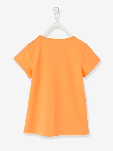 Girls' T-Shirt, with Bird GREEN LIGHT SOLID WITH DESIGN+ORANGE MEDIUM SOLID WITH DESIG+WHITE LIGHT SOLID WITH DESIGN - vertbaudet enfant