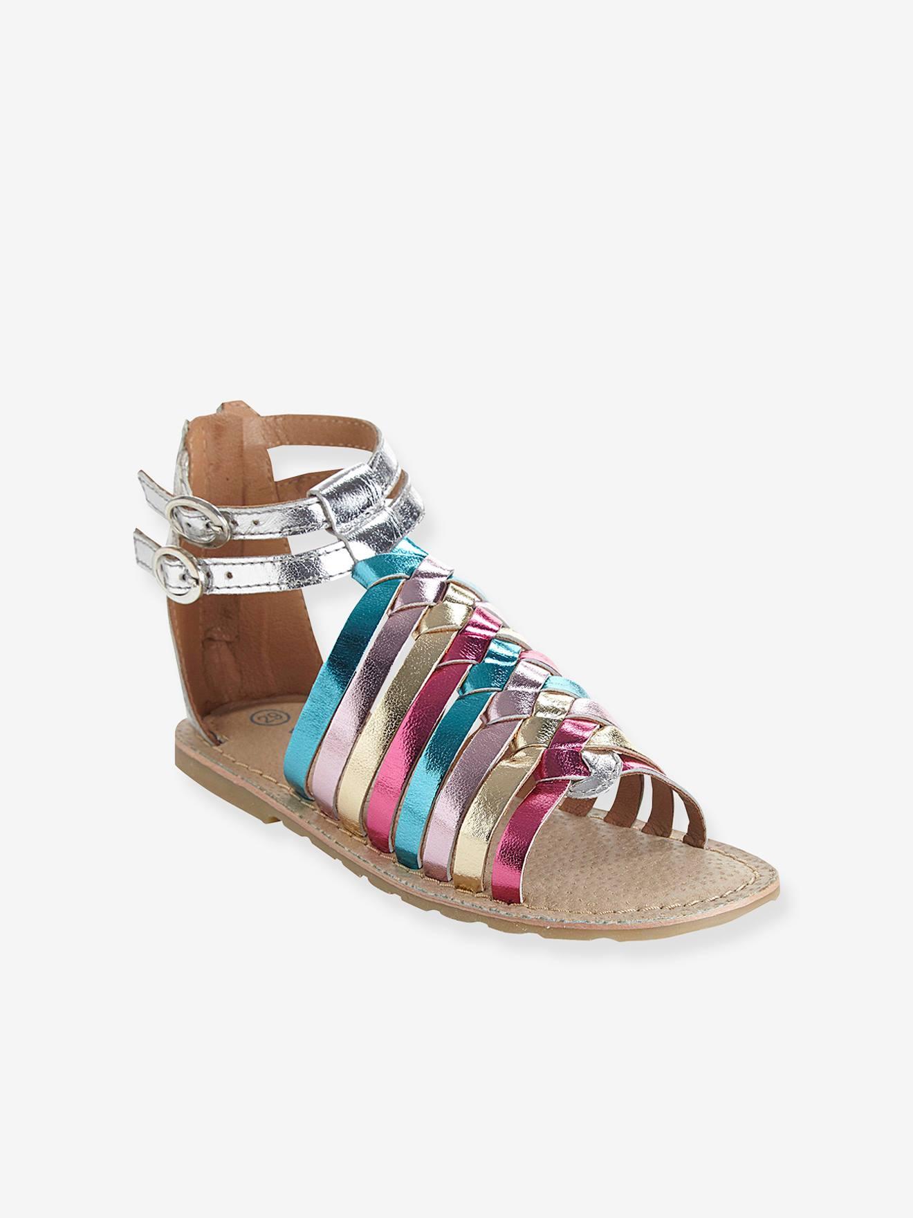 Multicolour Sandals SilverShoes Girls Leather PXZiuTOlwk