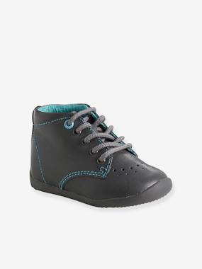 Vertbaudet Collection-Shoes-Baby Footwear-Boys' Leather Ankle Boots, Designed for First Steps