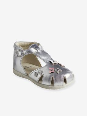 Vertbaudet Collection-Shoes-Girls' First Steps Leather Sandals