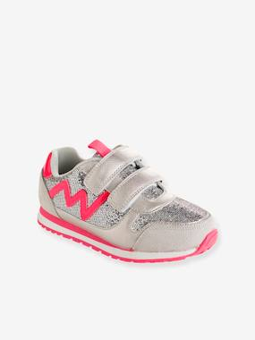 Vertbaudet Collection-Shoes-Girls' Glittery Trainers with Touch 'n' Close Tabs