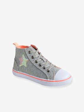 Shoes-Girls Footwear-Trainers-Girls' Leather High-Top Trainers, in Fabric