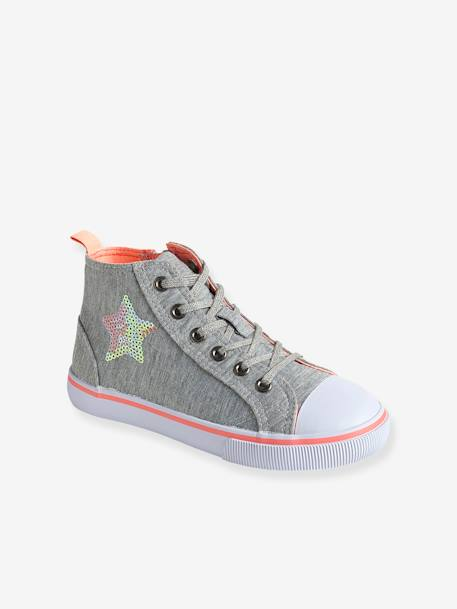 Girls' Leather High-Top Trainers, in Fabric BLUE MEDIUM SOLID+GREY MEDIUM SOLID WITH DESIGN+WHITE MEDIUM ALL OVER PRINTED - vertbaudet enfant