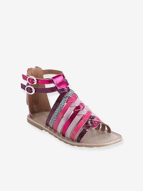 Girls Leather Sandals Fuchsia pink+Metallic pale pink+Multicolour silver+WHITE LIGHT SOLID - vertbaudet enfant