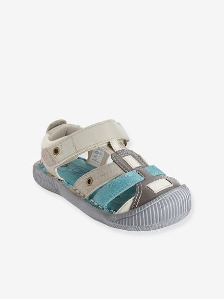 Boys Leather Sandals, Designed For Autonomy Grey+Navy+Red - vertbaudet enfant