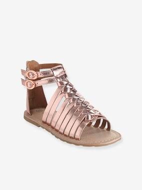 Vertbaudet Collection-Shoes-Girls Leather Sandals