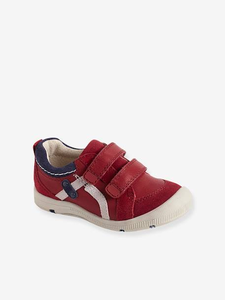 Boys' Leather Shoes, Designed For Autonomy Navy+RED MEDIUM SOLID WITH DESIG - vertbaudet enfant