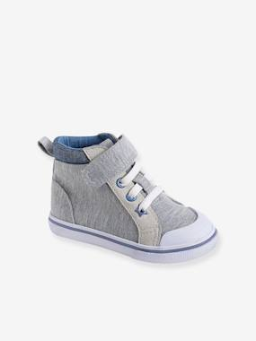 Shoes-Baby Footwear-Baby Boy Walking-Boys' Leather High-Top Trainers, in Fabric
