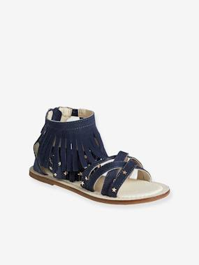 Sandals-Girls' Leather Sandals with Fringes