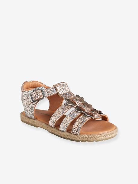 Girls' Leather Sandals, Autonomy Collection BEIGE LIGHT METALISED+PINK BRIGHT SOLID - vertbaudet enfant