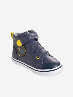 Mid season sale-Boys' Leather High-Top Trainers, Autonomy Collection