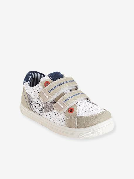 Boys Leather Trainers, Designed For Autonomy Brown+White - vertbaudet enfant