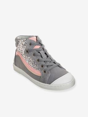 Vertbaudet Sale-Shoes-Girls' Leather High-Top Trainers with Glitter