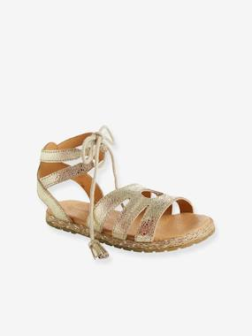 Sandals-Girls' Sandals, in Metallized Leather