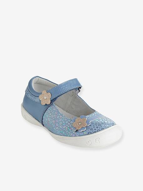 Girls Leather Mary Jane Shoes With Touch N Close Fastening, Designed For Autonomy Blue+Ecru+PINK LIGHT SOLID - vertbaudet enfant