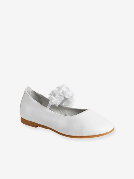 Girls' Ballerina Shoes, Flowers and Tulle WHITE MEDIUM METALLIZED - vertbaudet enfant