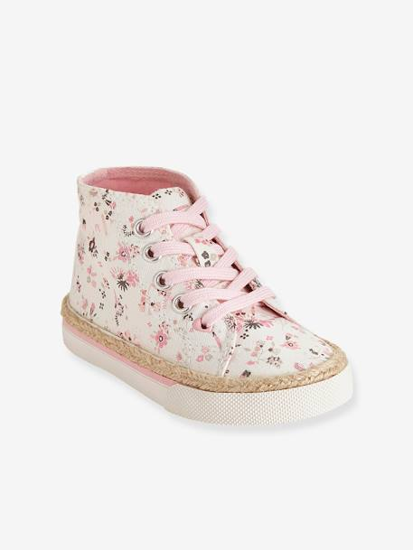 Girls Canvas High-Top Trainers BLUE MEDIUM SOLID WITH DESIGN+Printed white - vertbaudet enfant