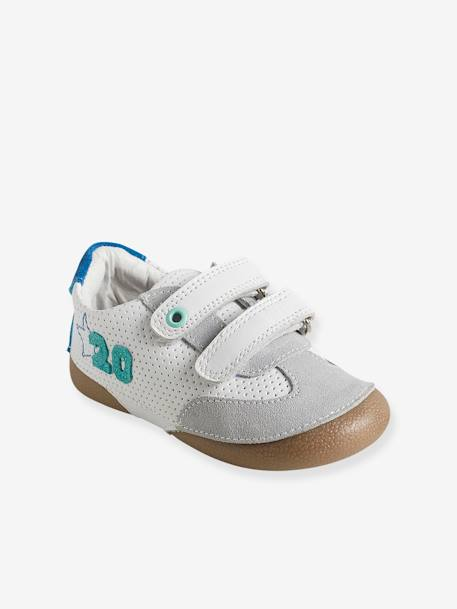 Baby Boys' Trainers in Soft Leather WHITE LIGHT SOLID WITH DESIGN - vertbaudet enfant