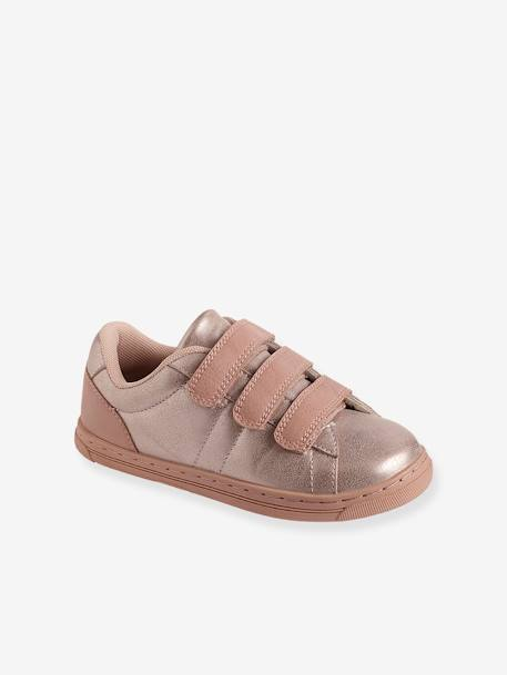 Girls' Trainers with Touch 'n' Close Fastening Tabs PINK LIGHT METALLIZED - vertbaudet enfant