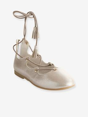 Outlet-Shoes-Girls Leather Ballerinas With Laces