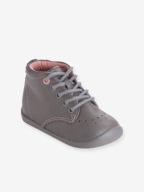 Vertbaudet Collection-Shoes-Baby Footwear-Girls' Leather Ankle Boots, Designed for First Steps